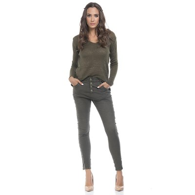Jeans with side ribbon strip and back star Green