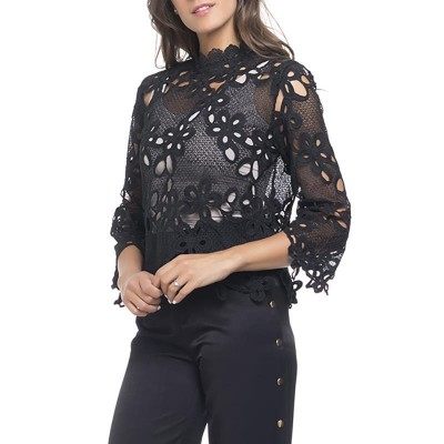 Lace top with embroidery flowers. Lining not include Black