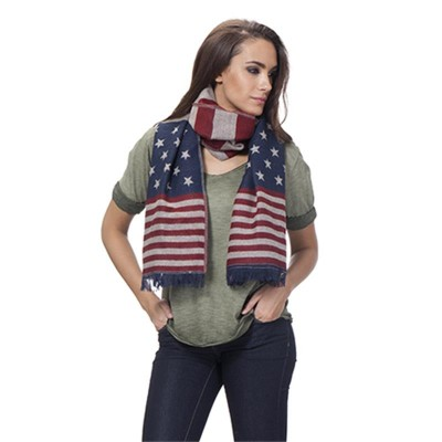 Usa Flag Shawl Blue