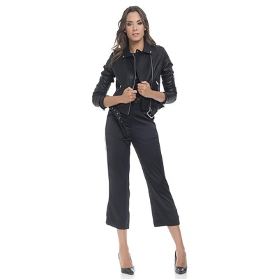 Satin pants with silver metallic side strip and lower opening Black
