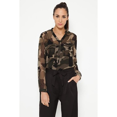 Camouflage blouse with pockets Green
