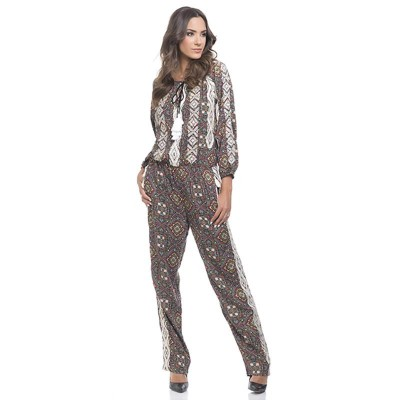 Print jumpsuit with lace and sequins Multi