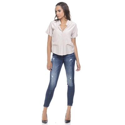 Short sleeves satin blouse with pockets Pink