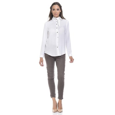 Blouse with neck loop White