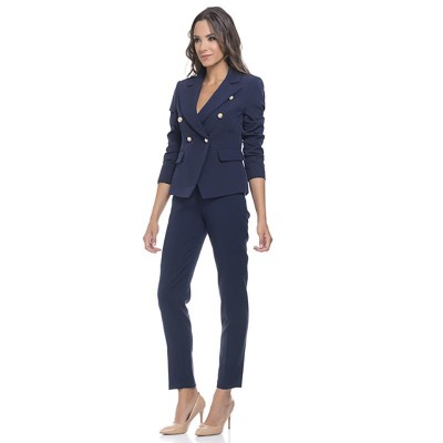 Straight Pants with side zipper and back pockets Navy