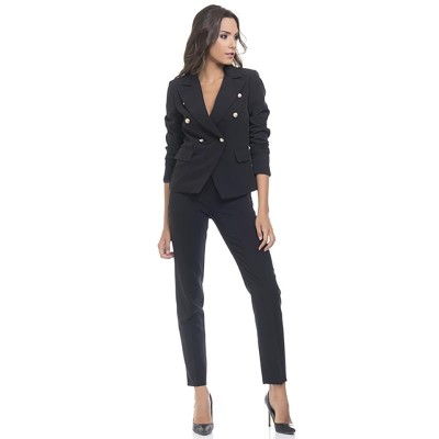 Straight Pants with side zipper and back pockets Black