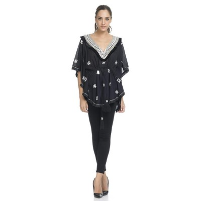 Embroidery Kaftan with V neck, and beads Black