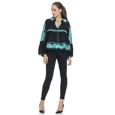 Embroidery Blouse with Flounce Sleeve Black