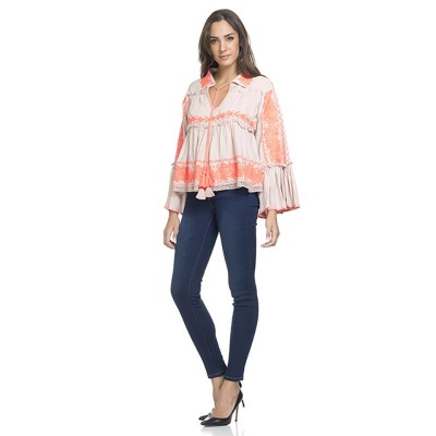 Embroidery Blouse with Flounce Sleeve Orange