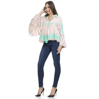 Embroidery Blouse with Flounce Sleeve Turquoise