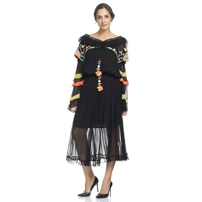 Long dress with chest and sleeves embroidery. Elastic waist. Separate lining Black