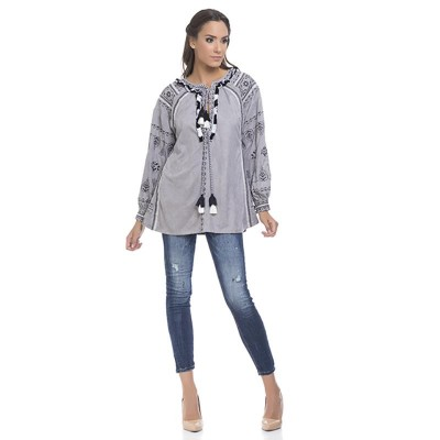 Embroidery Blouse with cord detail Grey