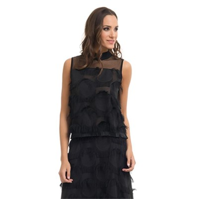 Sleeveless Top with Circles and Fringes Black