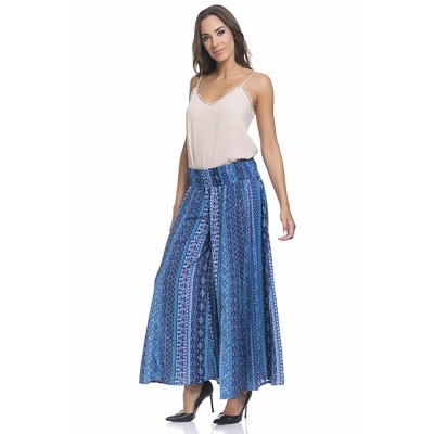 Flight Print pamts with elastic waist Turquoise