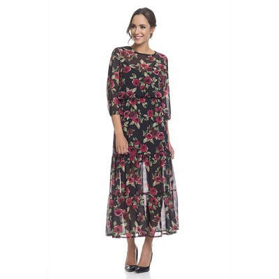 Long flower Print dress with lining Black
