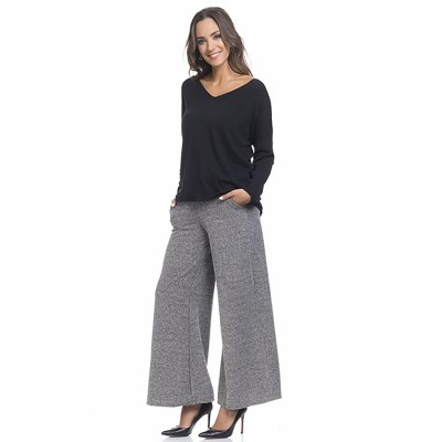 Wide pants with elastic waist, ockets and tie Black