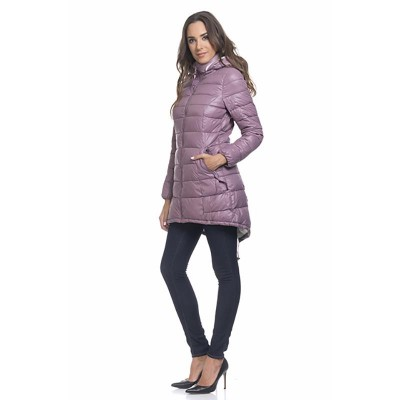 Long down jacket with fleece lining and removable hood Purple