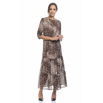 Long animal Print dress with lining Brown