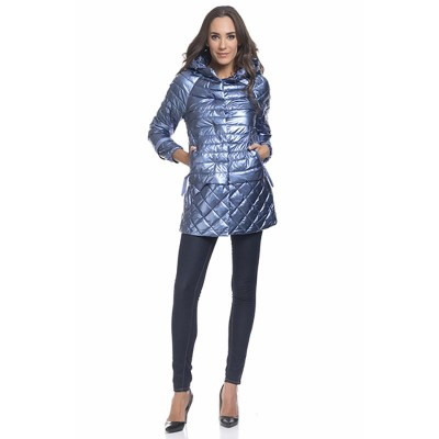 Long down metallic jacket with line and square stitching. Removable Hood Blue