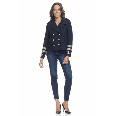 Military Jacket with Gold details and buttons Navy