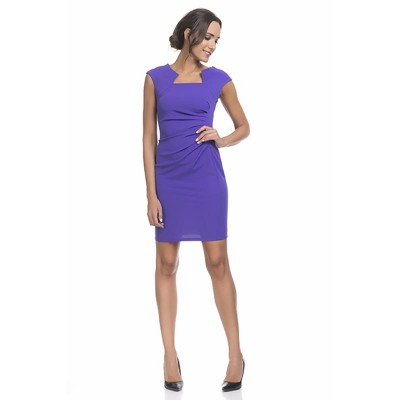 Shape dress with Asymetric Neck Purple