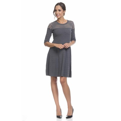 Knitted dress with flight and transparencies Grey