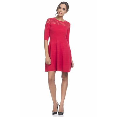 Knitted dress with flight and transparencies Red