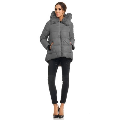 Anorak with hood and faux fur Grey