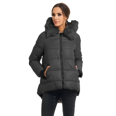Anorak with hood and faux fur Black