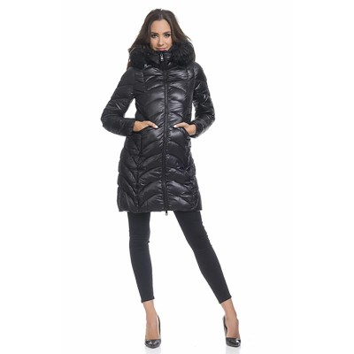 Anorack with removable hood and faux fur details Black