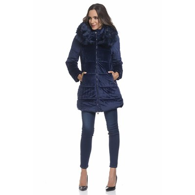 Velvet Coat with Hood and Faux fur detail Blue
