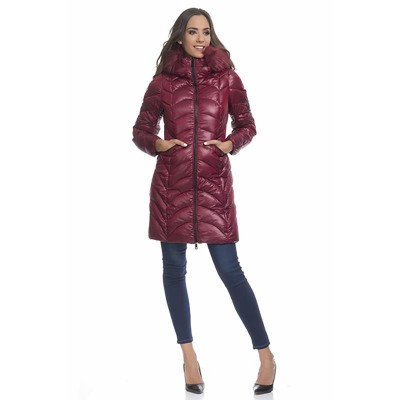 Anorack with removable hood and faux fur details Burgandy