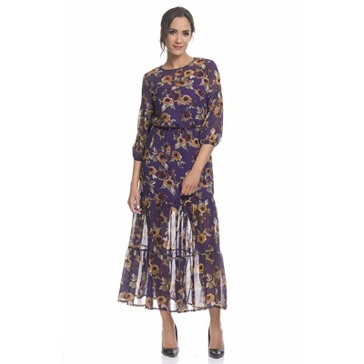 Long flower Print dress with lining Purple