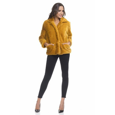 Print Faux Fur Jacket with pockets Mustard