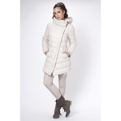 Long Down jacket with removable hood. Ecru
