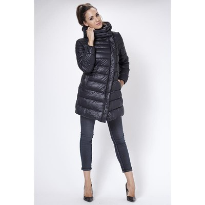Long Down jacket with removable hood. Black