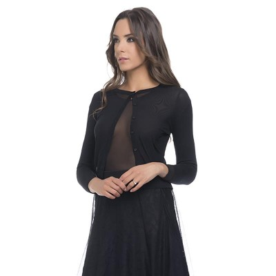 Long sleeves transparent top Black
