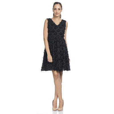 V-neck dress with fringed fabric detail Black