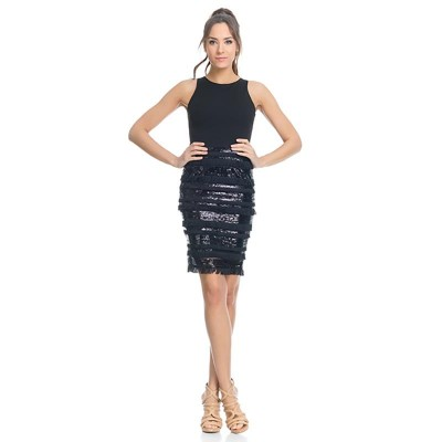 Dress with sequins and fringes Black