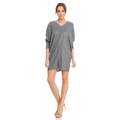 V Neck Lurex dress Silver