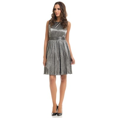 Crinckle and Metallic dress with Net Lining Silver