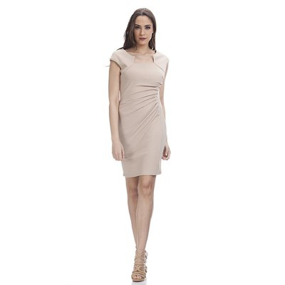 Shape dress with Asymetric Neck Beige