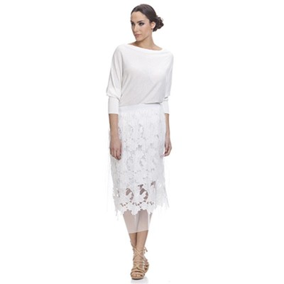 Net and Lace Skirt / Falda de Tul y encaje White