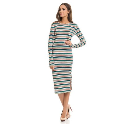 Knitted Midi Stripped dress Green