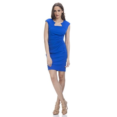 Shape dress with Asymetric Neck Blue
