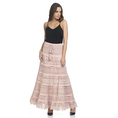 Long Skirt With Embroidery and Beads Beige