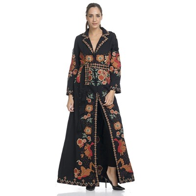 Long Embroidery Open dress with apart belt Black