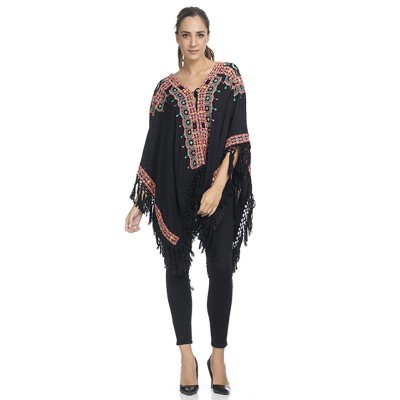 Embroidey Poncho with fringes Black