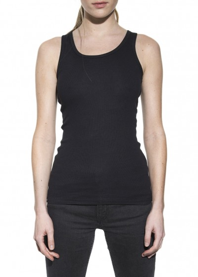 TANK RIBBED BLACK W