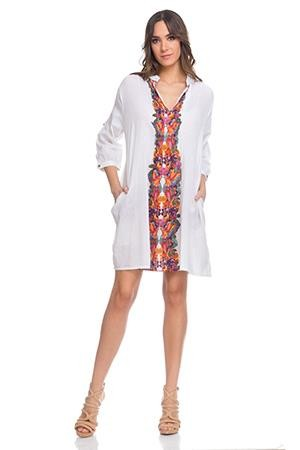 Shirt dress with 3/4 sleeves , front and Back Print Orange